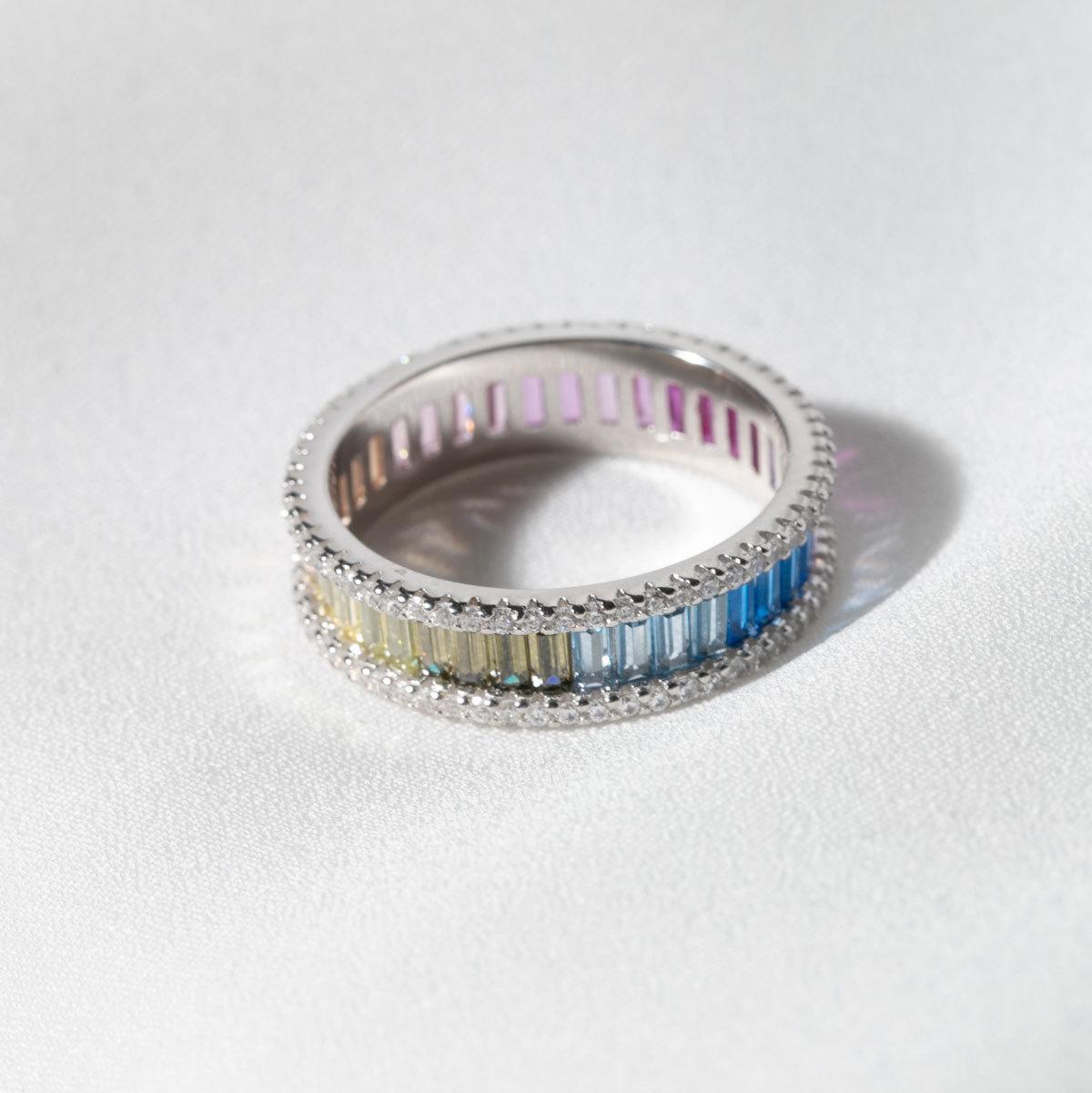 Кольцо с пале и багетными цирконами мультицветный (серебро 925)