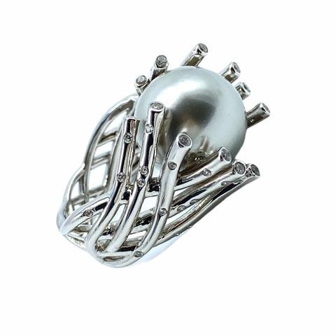 51683- Кольцо из серебра с серым жемчугом майорка