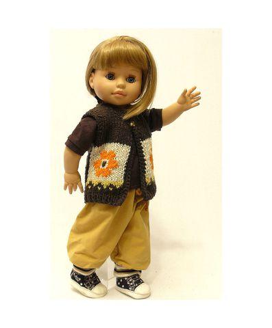 Вязаный жилет - На кукле. Одежда для кукол, пупсов и мягких игрушек.