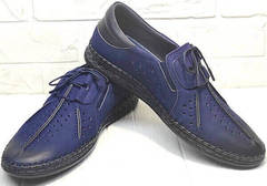 Летние мужские мокасины туфли кожаные city casual Luciano Bellini 91268-S-321 Black Blue.