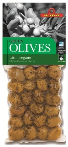 Оливки  зеленые с орегано OLIVES с косточкой 150 гр