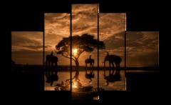 "Модульная картина ""Слоны на закате"""