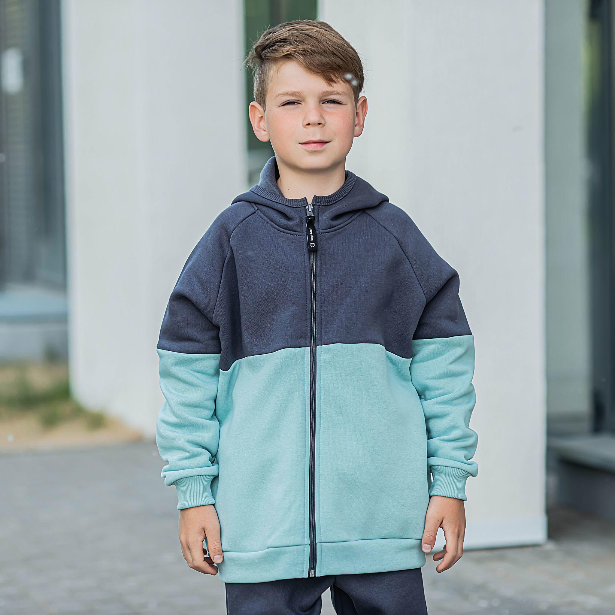 Color block warm sweatshirt for teens - Graphite/Sea Blue