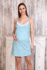 Мамаландия. Сорочка для беременных и кормящих на тонких бретелях с кружевом, цветы/голубой вид 2