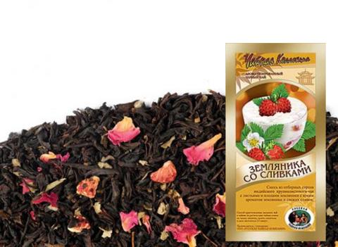 Чай развесной Чёрный Земляника со сливками ИП Базылева Е.Н. 0,1кг
