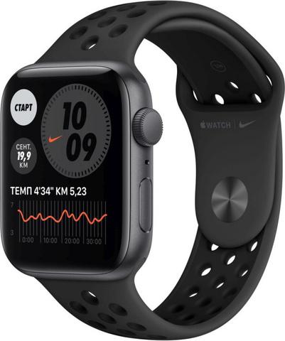 Умные часы Apple Watch Nike Series 6, 44 мм, корпус из алюминия цвета «серый космос», спортивный ремешок Nike