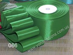 Лента атласная однотонная зеленая - 086.