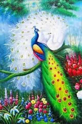 Алмазная Мозаика + Багет 40x50 Павлины и цветы