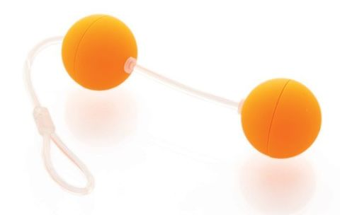Оранжевые вагинальные шарики на прозрачной сцепке