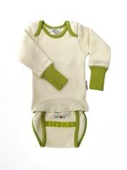 Боди/кофта с длинным рукавом ManyMonths, Натуральный/Зеленый кант (шерсть мериноса 100%)