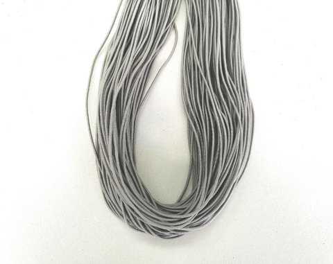 Шляпная резинка, толщина 1мм, цвет серебро. 1м.