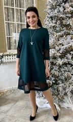 Марьям. Коктейльне плаття з блискучою сіткою. Смарагд