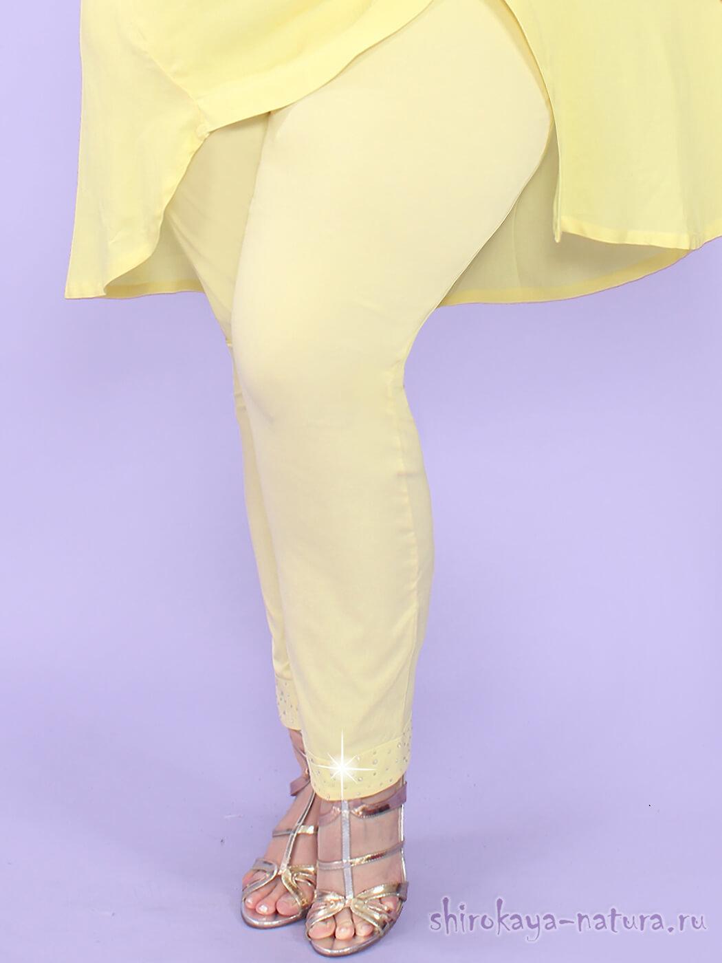 Желтые летние брюки больших размеров