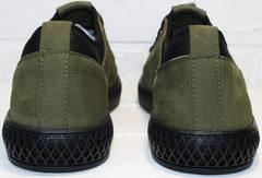 Модные мужские туфли из нубука Luciano Bellini C2801 Nb Khaki.