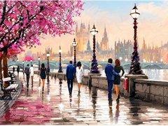 Картина раскраска по номерам 30x40 Романтичная улочка