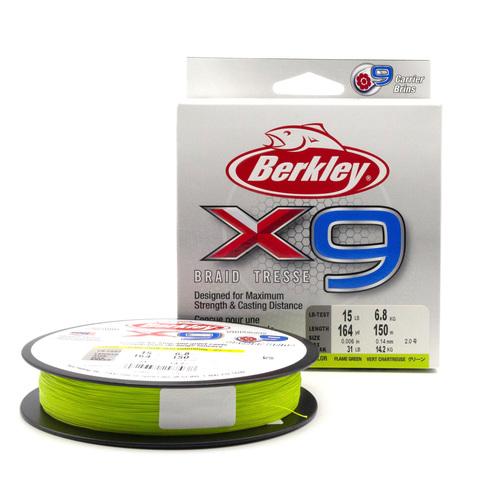 Плетеная леска Berkley X9 150 м. Ярко-зеленая 0,14 мм. 6,8 кг.