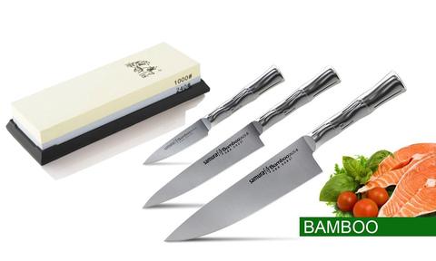 Набор из 3 ножей Samura BAMBOO и точильного камня Satoshi 1000/240