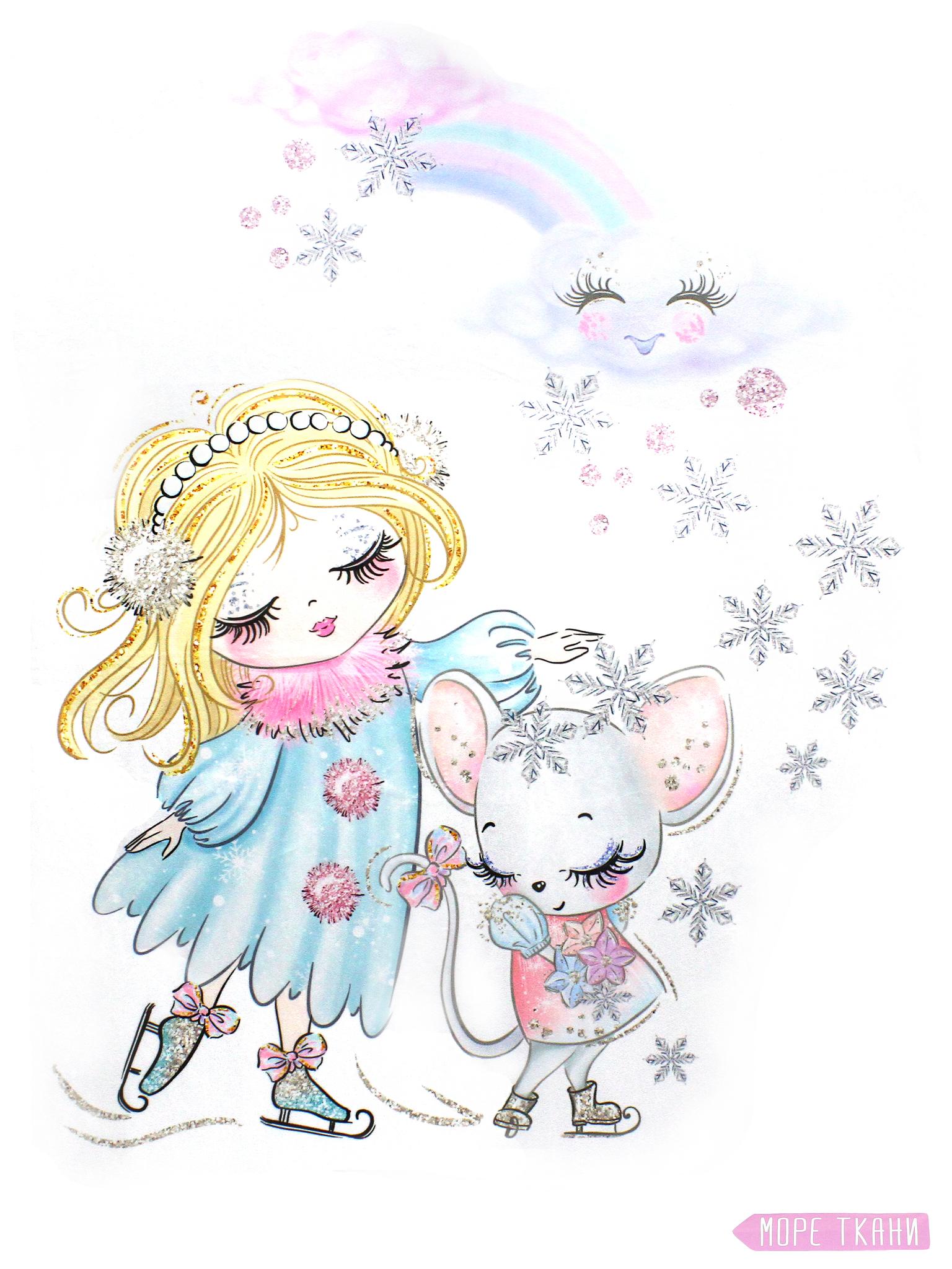 Купон(панель)девочка и мышонок на коньках,80*110см