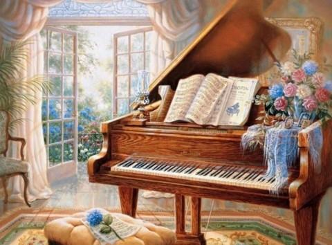 Алмазная Мозаика 20x30 Рояль у окна