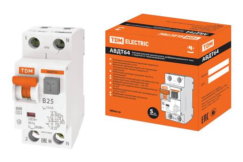 АВДТ 64 2Р(1Р+N) B25 10мА тип А защита 265В TDM