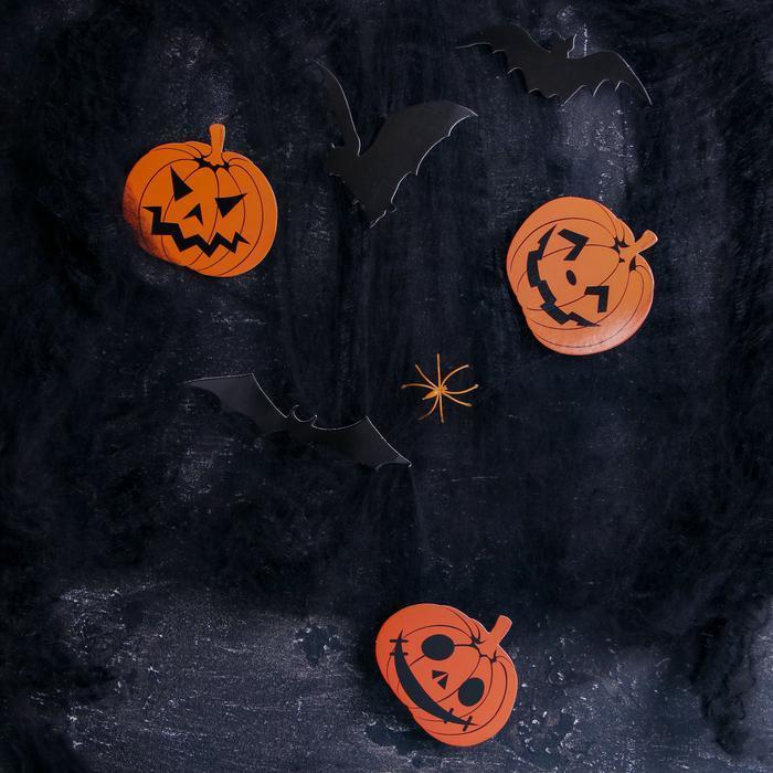 Карнавальный набор Halloween паутина, фигурки тыквы, летучие мыши фото № 2