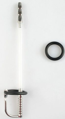 Серебристый фигурный уретральный стимулятор с силиконовым кольцом