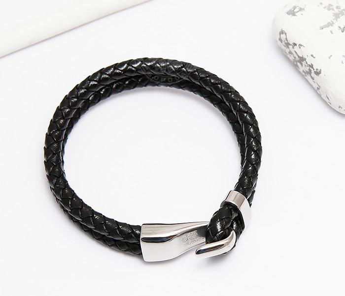 BM452 Мужской браслет из кожаных шнуров с застежкой крюком (21,5 см) фото 02