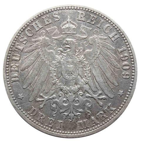 3 марки. Король Отто. (D) Германия-Бавария. 1909 год. Серебро. VF-XF