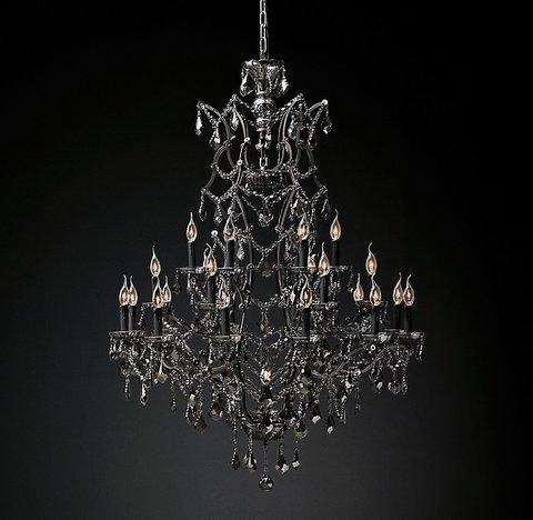 Подвесной светильник копия 19th C. Rococo Iron & Smoke Crystal Round Chandelier 41