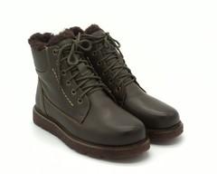 Зимние кожаные ботинки оливкового цвета со шнуровкой