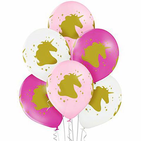 Воздушные шары с гелием с золотым Единорогом в бело-розовой гамме.