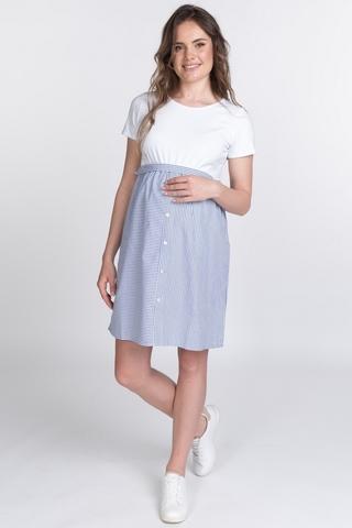 Платье для беременных и кормящих 10741 бело-голубой