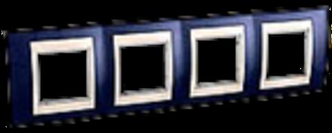 Рамка на 4 поста. Цвет Индиго/Бежевый. Schneider electric Unica Хамелеон. MGU6.008.542