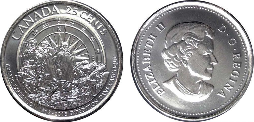 """25 центов """"Столетие Канадской Арктической Экспедиции"""" 2013 год UNC"""