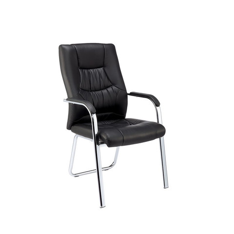 Конференц-кресло Easy Chair 807 VPU черное (искусственная кожа/металл хромированный)