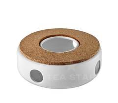 Подставка для подогрева чайника керамическая с буковым диском