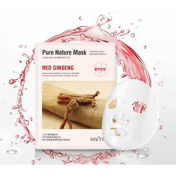Тканевая маска для лица с красным женьшенем Secriss Sheet Mask - Red Ginseng