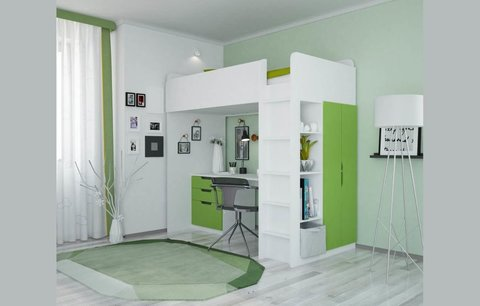 Кровать-чердак Polini kids Simple с письменным столом и шкафом, белый-лайм