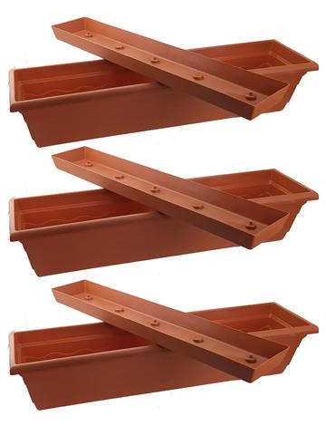 Балконный ящик 75 х 20 х 16 см с поддоном Набор из 3 штук
