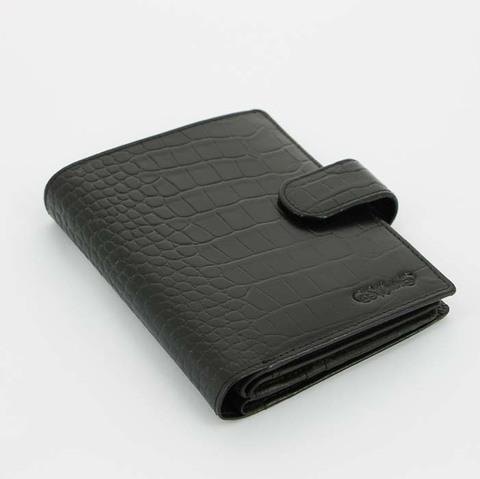 Портмоне большое S.Quire 6100-BK CROCO черный с тиснением