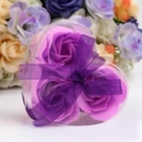 Мыльные розы в коробке фиолетовые (3шт)