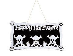 Банер фетровый, Happy Halloween, Черепа, 46 х 22 см, 1 шт.