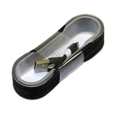 Кабель iPhone 5, тканевый, катушка, black