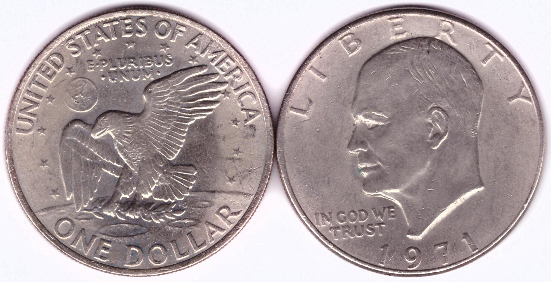 1 доллар США Эйзенхауэр 1971 г. XF (Лунный)