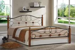 Кровать АТ-822 200x160 (Queen) Черный/Красный дуб