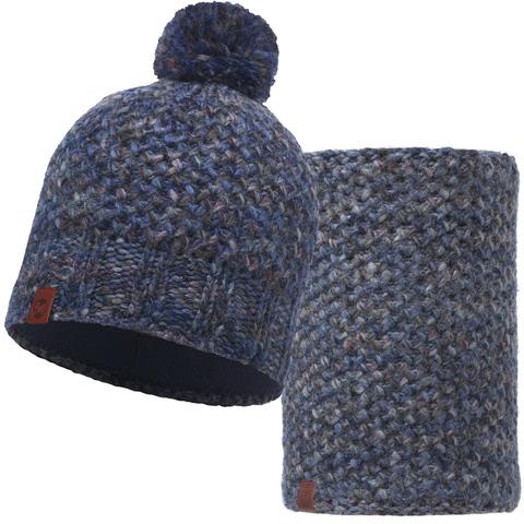 Комплект шапка шарф вязаный с флисом Buff Margo Blue фото 1