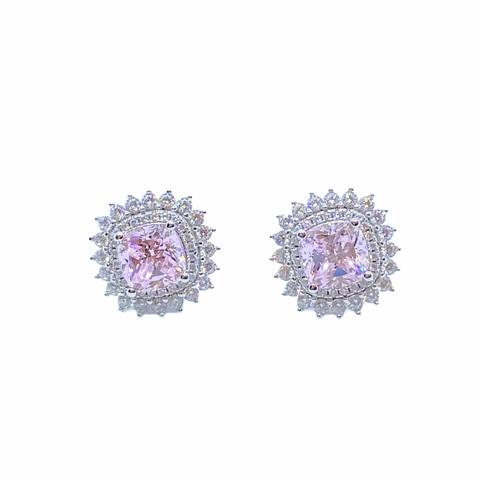 85429 - Серьги-пусеты из серебра с розовым кварцем с двойными рядом фианитов