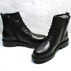 Черные осенние ботинки женские на шнуровке и молнии Misss Roy 252-01 Black Leather.