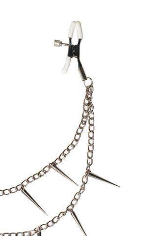Зажимы на соски Spiky с шипами на цепочке