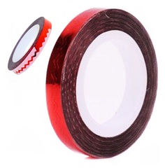 Лента зигзаг на липкой основе для дизайна ногтей красная